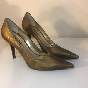 Bronze metallic pointed toe heels